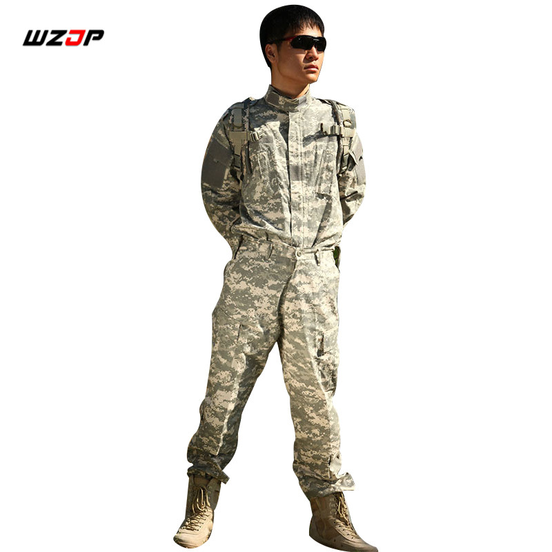 WZJP Army Military Tactical Uniform Shirt Pants ACU Camouflage Combat Uniform US Army Men s Clothing
