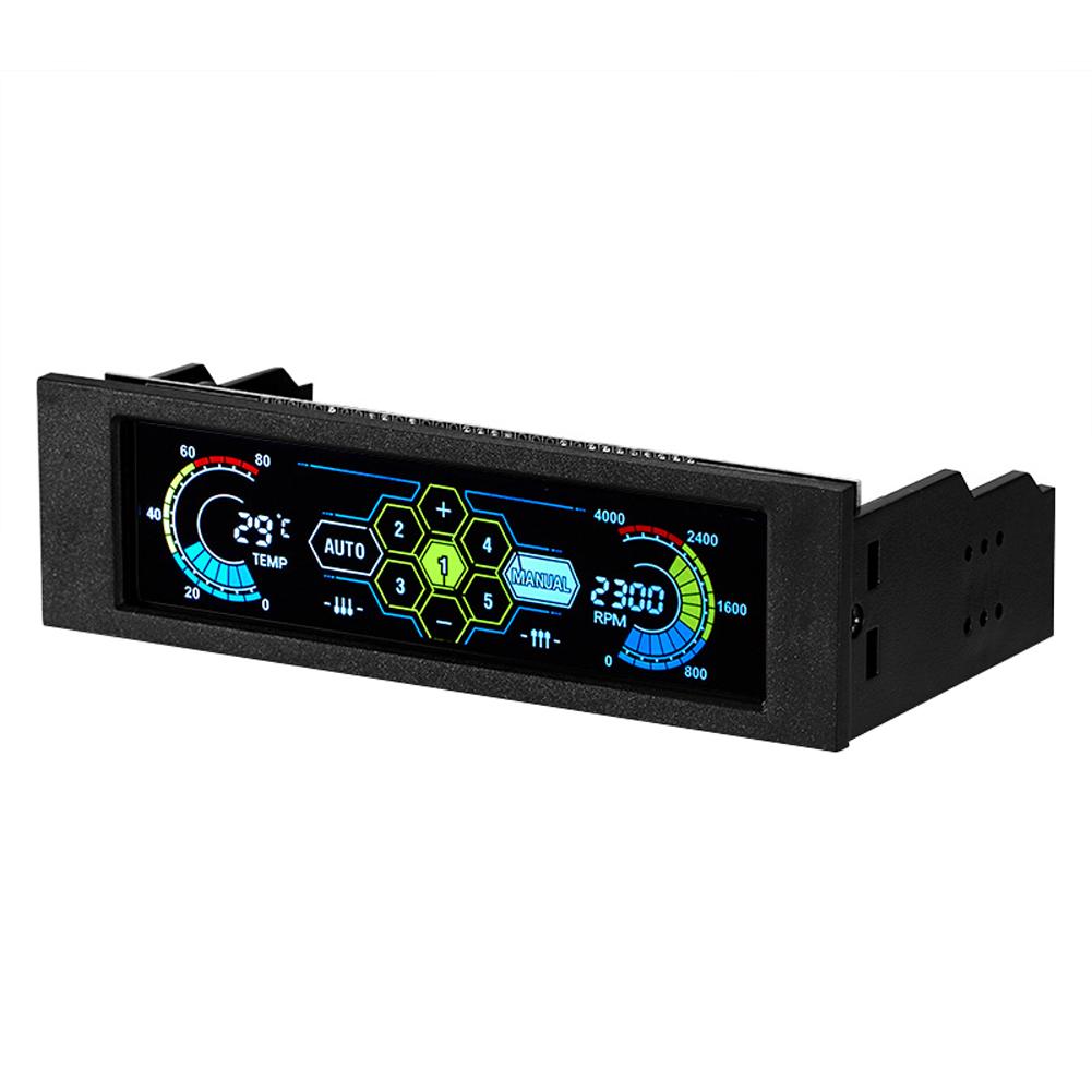 Prix pour LCD Tactile Écran Ventilateur Contrôleur Température Automatique Contrôleur de Vitesse Du Ventilateur Multicolore Lumière Couleur Du Panneau Avant Contrôle 5 Fans