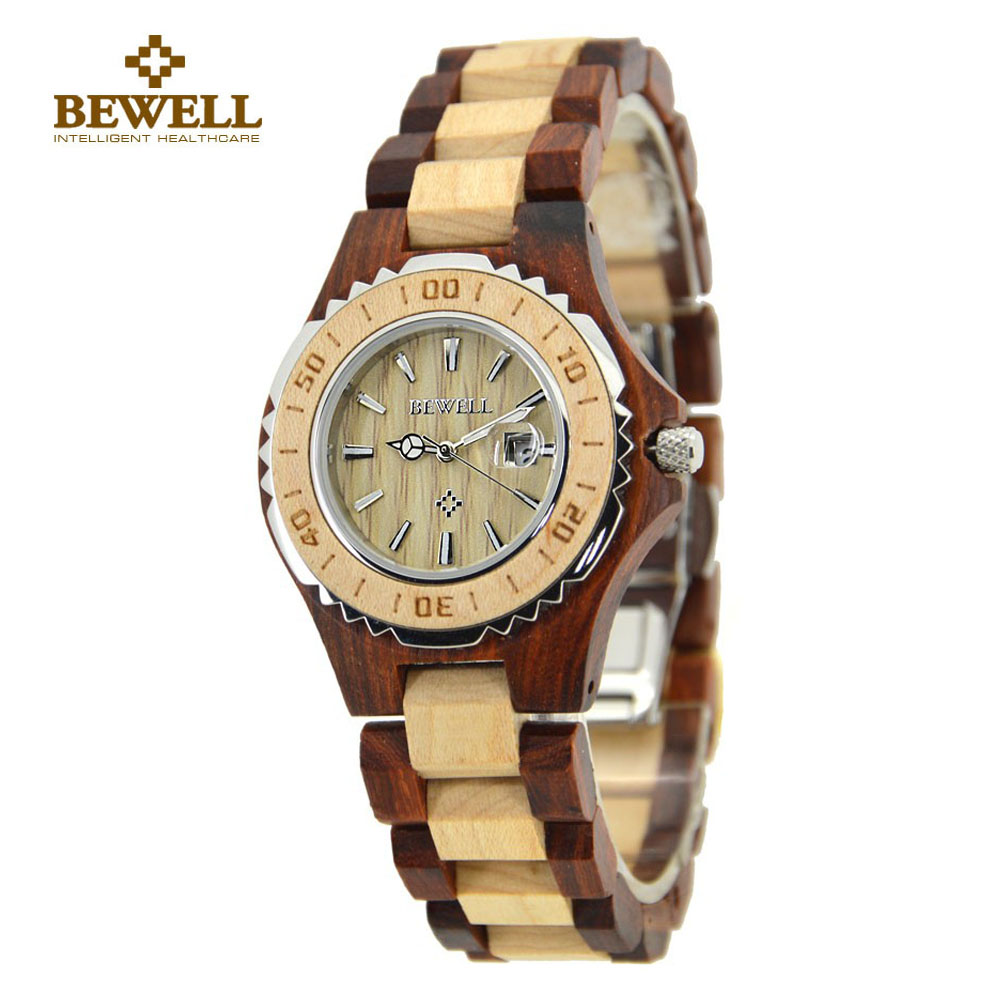 BEWELL 100BL 2018 Top Brand Designer Watch Menn Full Pine Wooden Watches Maple Wood Japan Bevegelse Quartz Watches Wood Gift Box