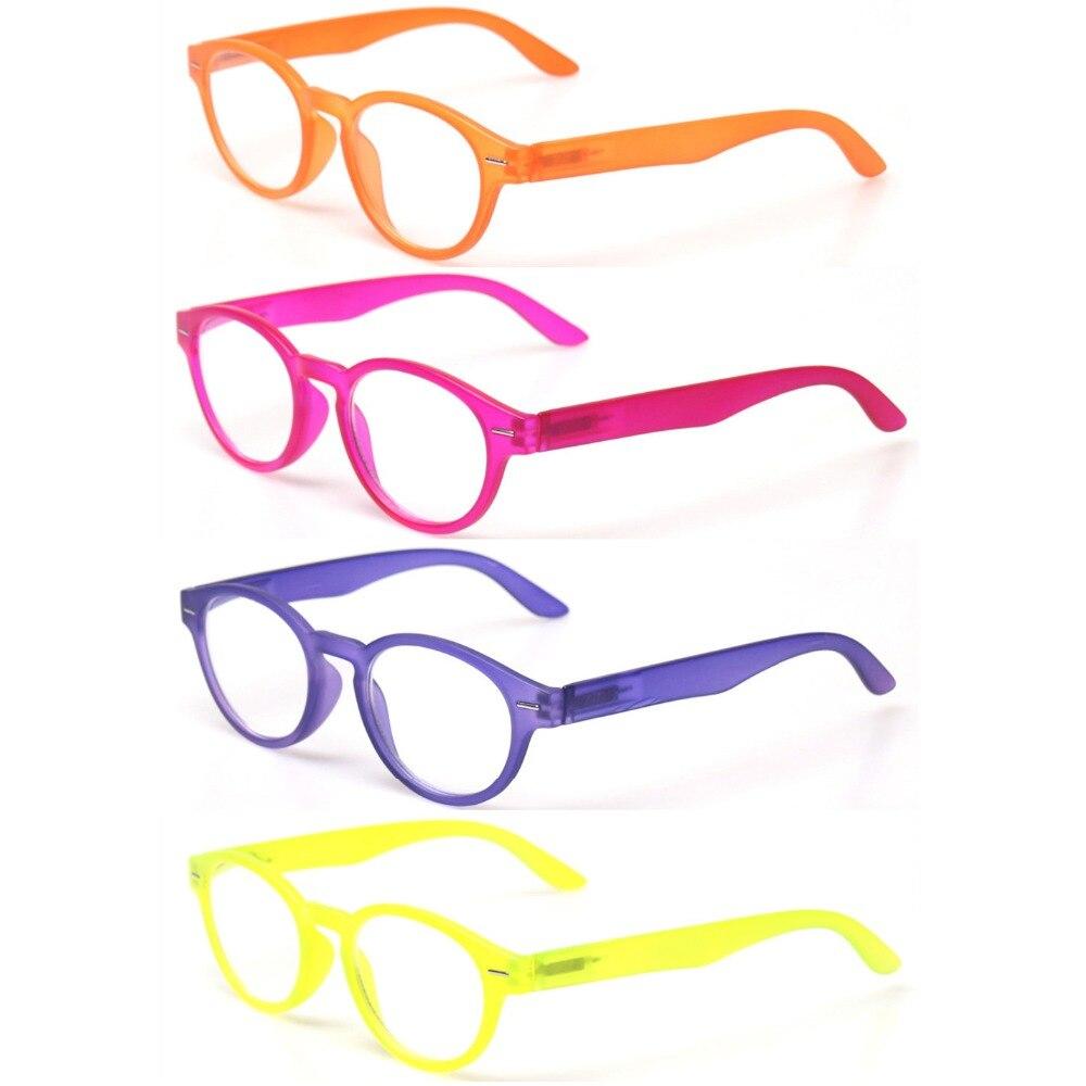 Reading Glasss 4-Pack Spring Hinge Unisex Readers Fashion Men And Women Retro Vintage Oval Color Eyeglasses Diopter Glasses