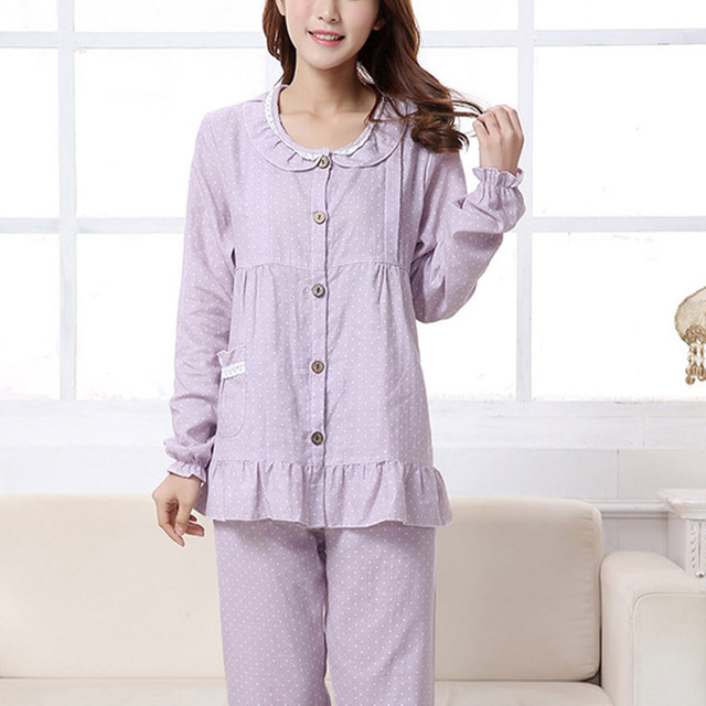 6be4dadda Ropa de Noche de maternidad Lactancia Ropa Con Volantes de Manga Larga  Pijamas Set Mujeres Embarazadas