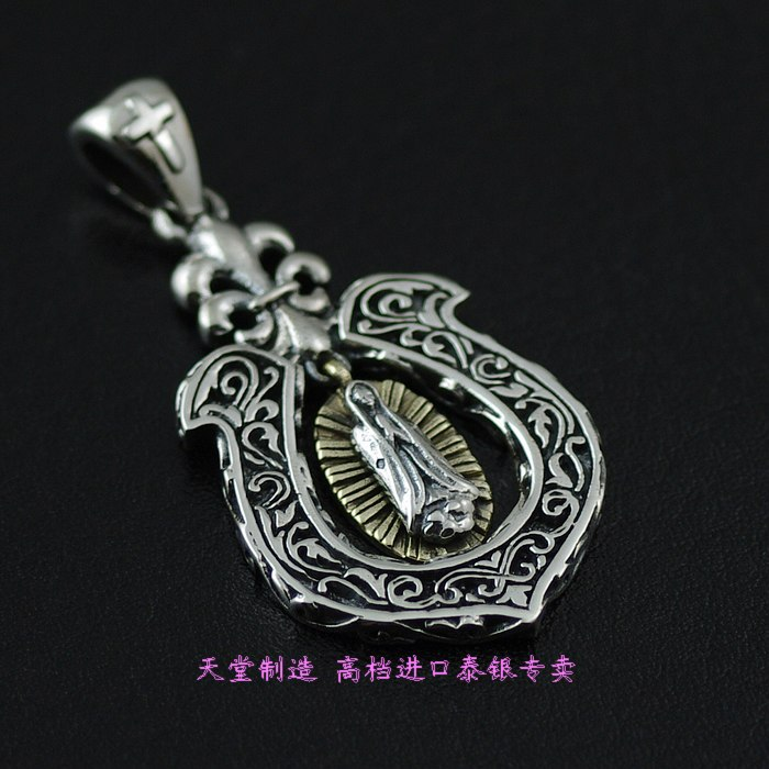 все цены на 925 Sterling Silver Jewelry GV authentic Thai silver horseshoe pendant new Notre Dame онлайн