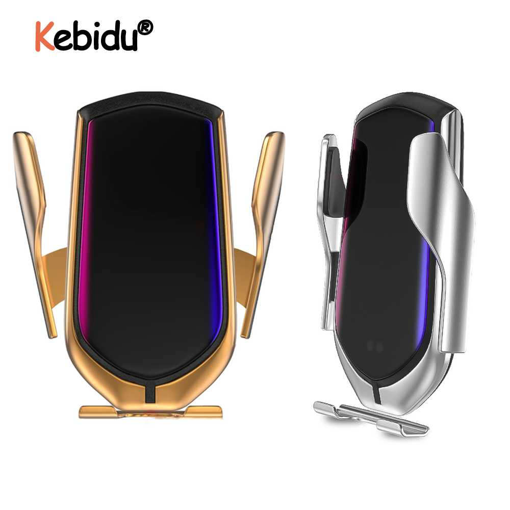 R1 Automatic Clamping 10W Car Wireless Charger Infrared Induction Qi Wireless Charger Car Phone Holder  For Phone Sliver/Gold-in Mobile Phone Chargers from Cellphones & Telecommunications on