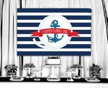 Personalizado meninos chuveiro do bebê arquivo náutico marinheiro âncora marinha listrado backdrops impressão computador fundo de aniversário