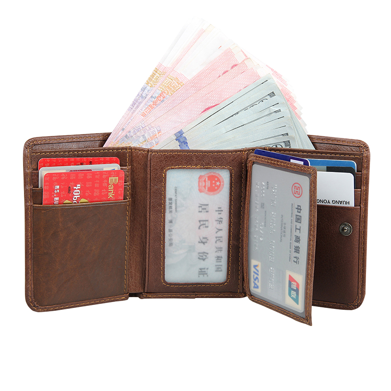 RFID Blocking Genuine Leather Short Wallet For Men Solid Hasp Fashion New Design Card Holder Purse Trifold Men's Wallet casual weaving design card holder handbag hasp wallet for women