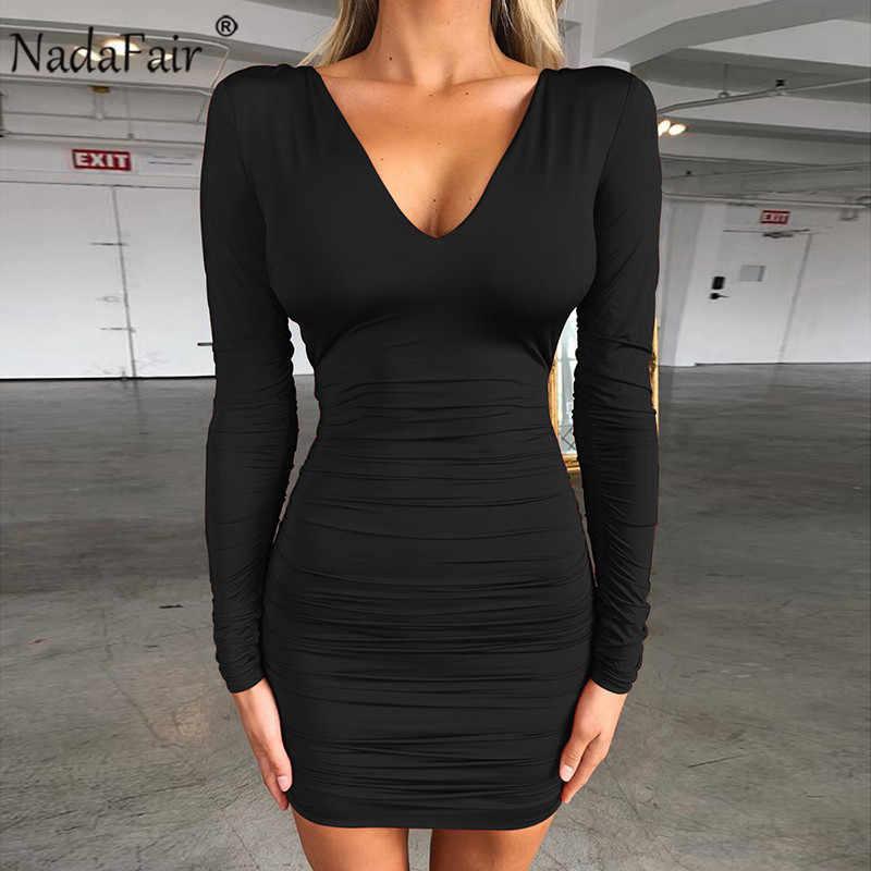 Nadafair черное сексуальное Бандажное платье для женщин с рюшами, v-образный вырез, длинный рукав, мини-обтягивающая одежда для клубной вечеринки, осенне-зимнее платье, красный, черный