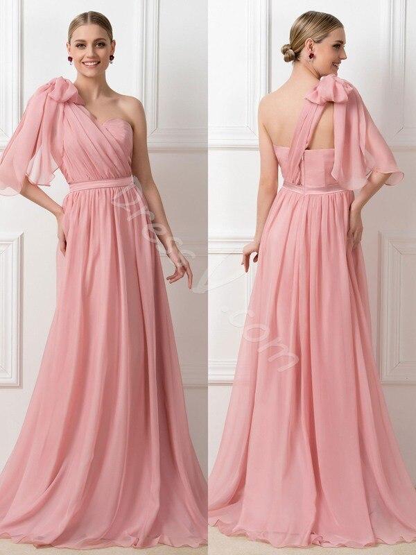 Dressv gasa rosa largo de dama de honor vestidos de correas ...