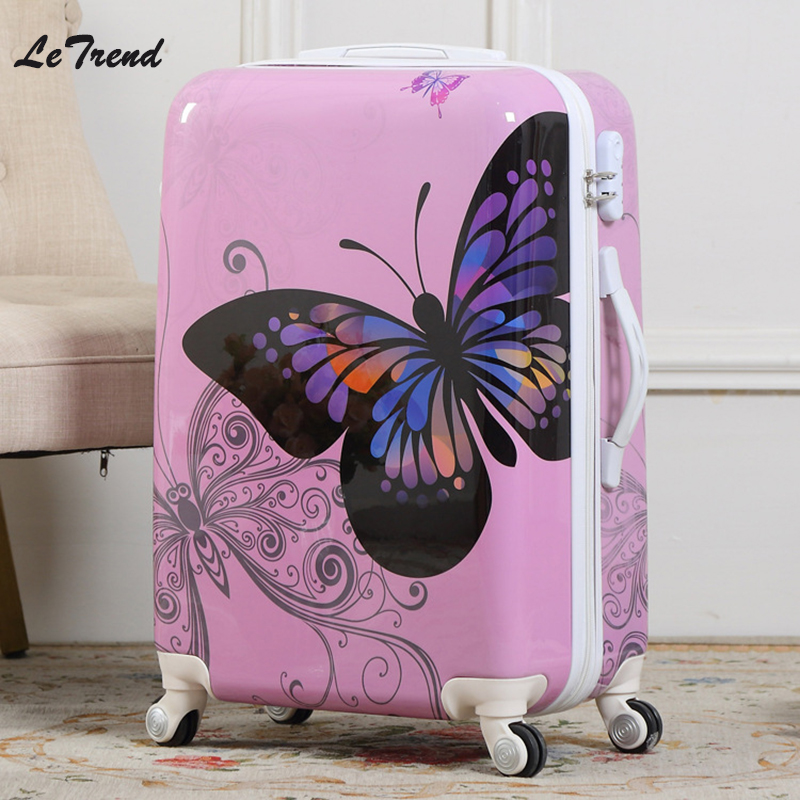 Letrend New Fashion Butterfly Rolling Luggage Spinner Trolley Case Travel Bag 20 inch Boarding Bag 24