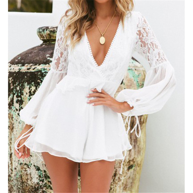 2019 Summer Women Sexy Deep V Neck Jumpsuit Backless Lace Patchwork Lantern Long Sleeve Playsuit Casual Loose Shorts Rompers