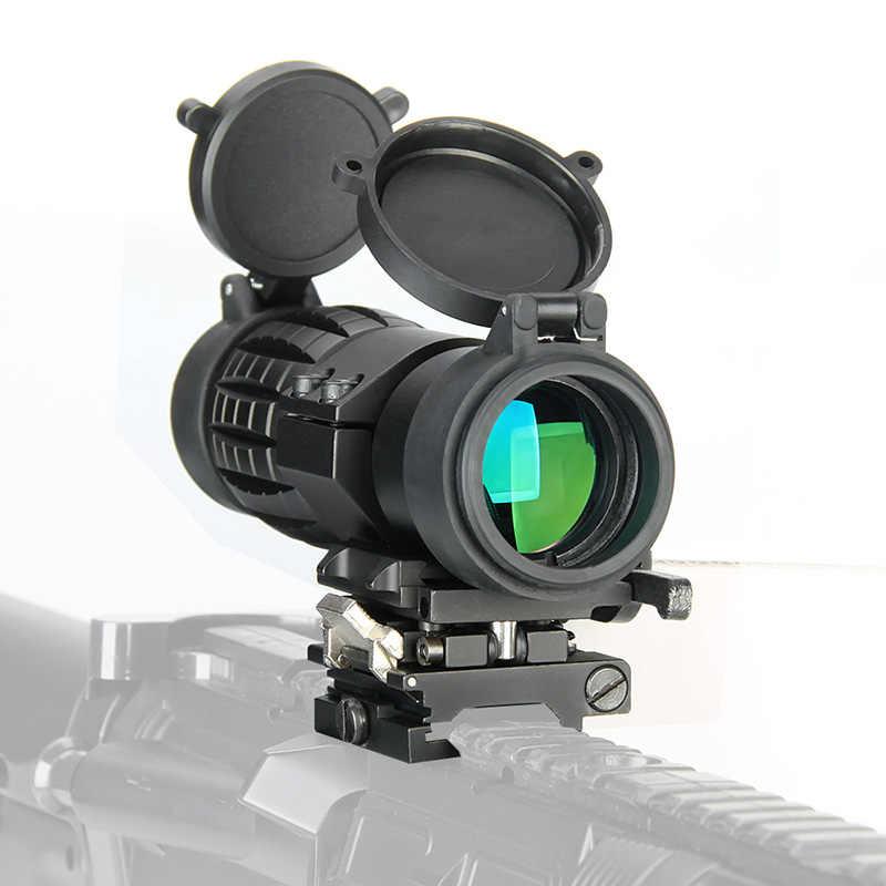 Mira con lupa WIPSON de Mira óptica 3X, mira telescópica de caza compacta con cubierta abatible hacia arriba, compatible con montaje de riel de pistola de Rifle de 20mm