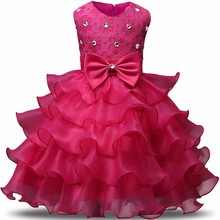 AmzBarley Bow-knot Girls formal Dress Floral Ball gown sleeveless Wedding Party Dresses Children Birthday costume summer clothes