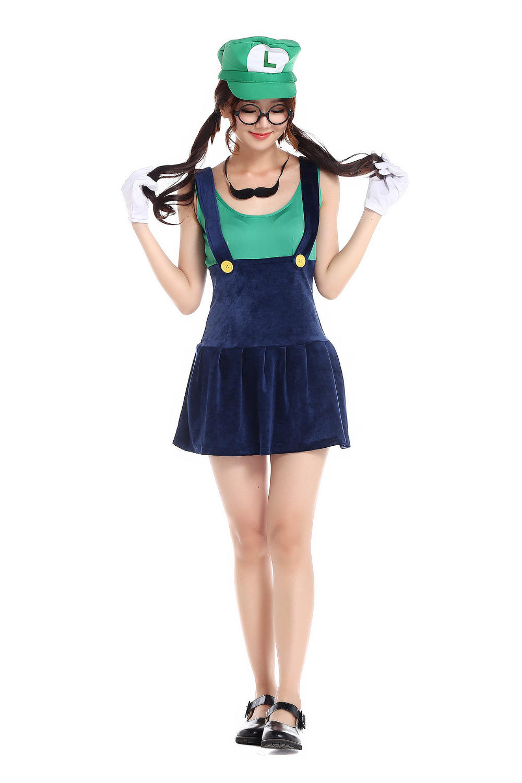 Hot Sale Adult Halloween Costumes Women Funny Super Mario Bros ...