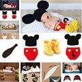 Mickey designs crochet chapéus do bebê foto props traje infantil outfits newborn crochet gorros & calças & sapatos roupas 1 conjunto mzs-14016