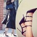 2015 Mujeres de la Marca Sexy Bombas Buckles Strappy Stilettos Gladiador Punta estrecha Tacones Altos Moda Mujer Zapatos de Vestir Mujer Sapatos