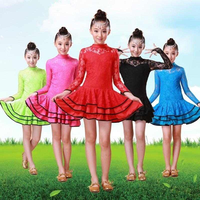 girl child kid children tango ballroom dancing dresses kids skirts lace professional latin samba costumes dance dress for girls