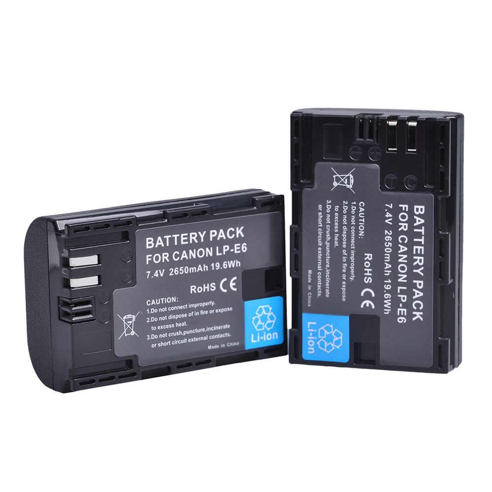2x LP E6 LPE6 LP-E6 E6N Батарея 2650 мАч + светодио дный двойной Зарядное устройство для Canon EOS 5DS R 5D Mark II 5D Mark III 6D 7D 80D EOS 5DS R Камера