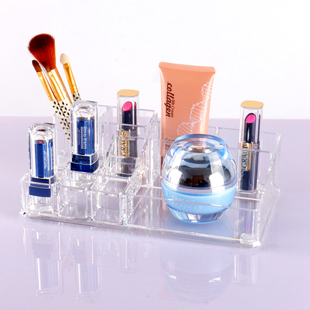 Transparent Acrylic Nail Polish Lipstick Cosmetic Organizer Crystal Plastic Dress Makeup Desktop Storage Box Special Gifts