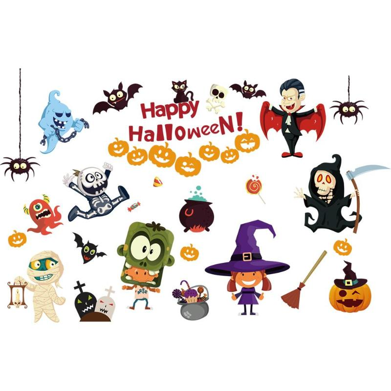 Halloween Cartoon Pumpkin Wall Paster Waterproof Witch Fairy Wall Sticker for Festival Home Decor Removable Party Decoration