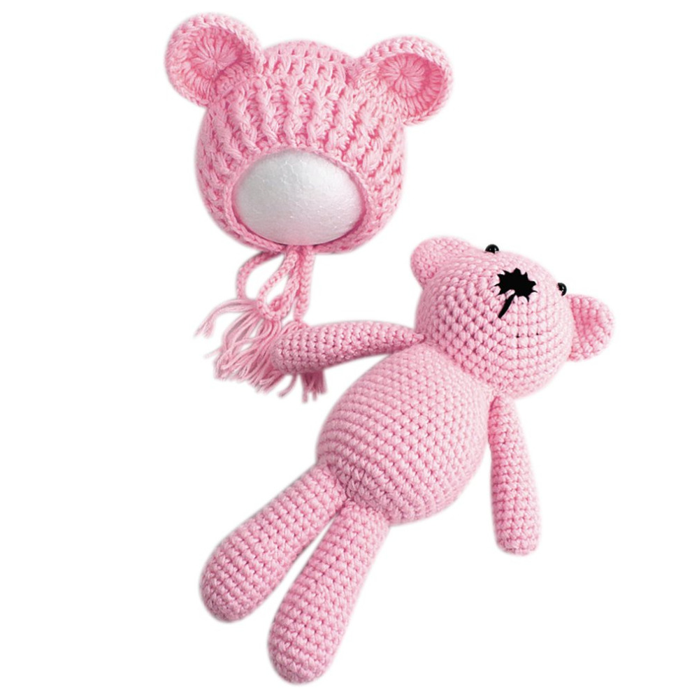 Baby Cute Bear Ears Hat with Doll Toys Wool Blend Newborn Baby Beanie Hat Photography Prop For Baby Girls Boys Knitted Kids Hats