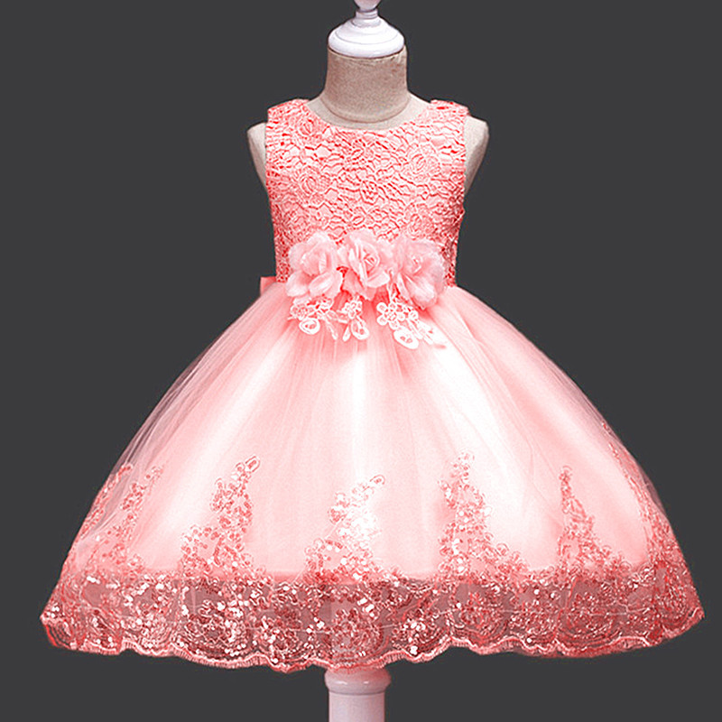 so beautiful good quality 2017 new Girls Kids Performing lace flower dress comfortable cute baby Clothes Children Clothing