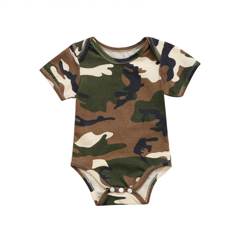 U88oi-8 Short Sleeve Cotton Rompers for Baby Girls Boys Cute USA Army Flag Crawler