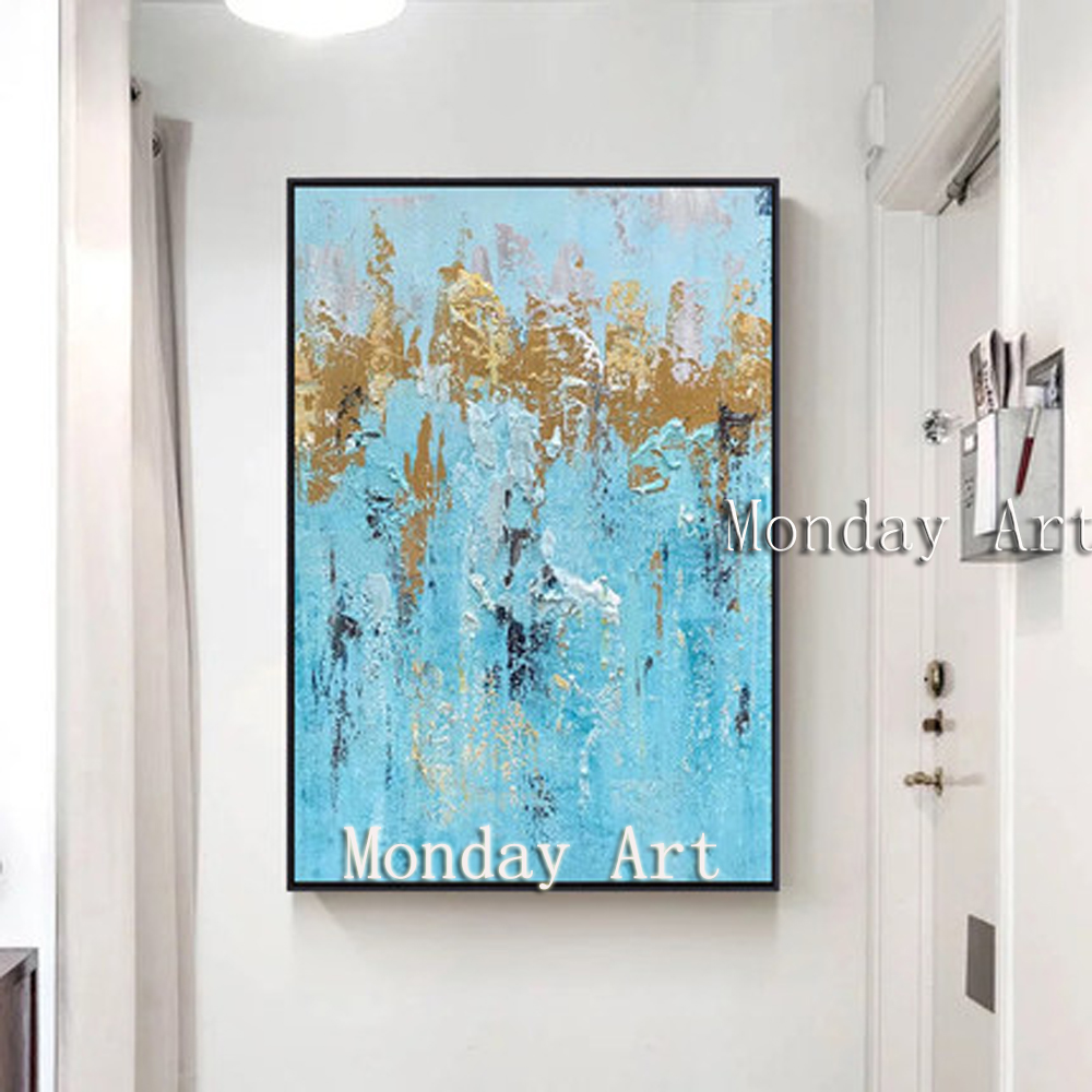 Abstract gold Painting artist Hand-painted High Quality abstract Oil Paintings for living room bar hotel
