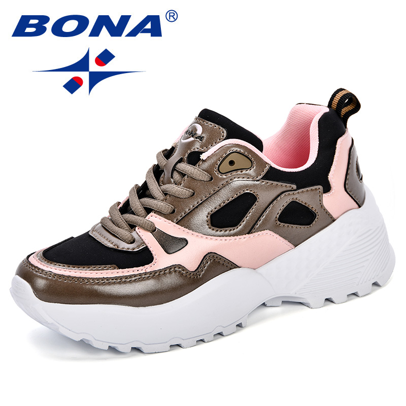 BONA 2018 Women Shoes Sneakers Flats Zapatillas Deportivas Woman Trendy Casual Shoes Increasing Heel Zapatos Mujer Flat Platfo