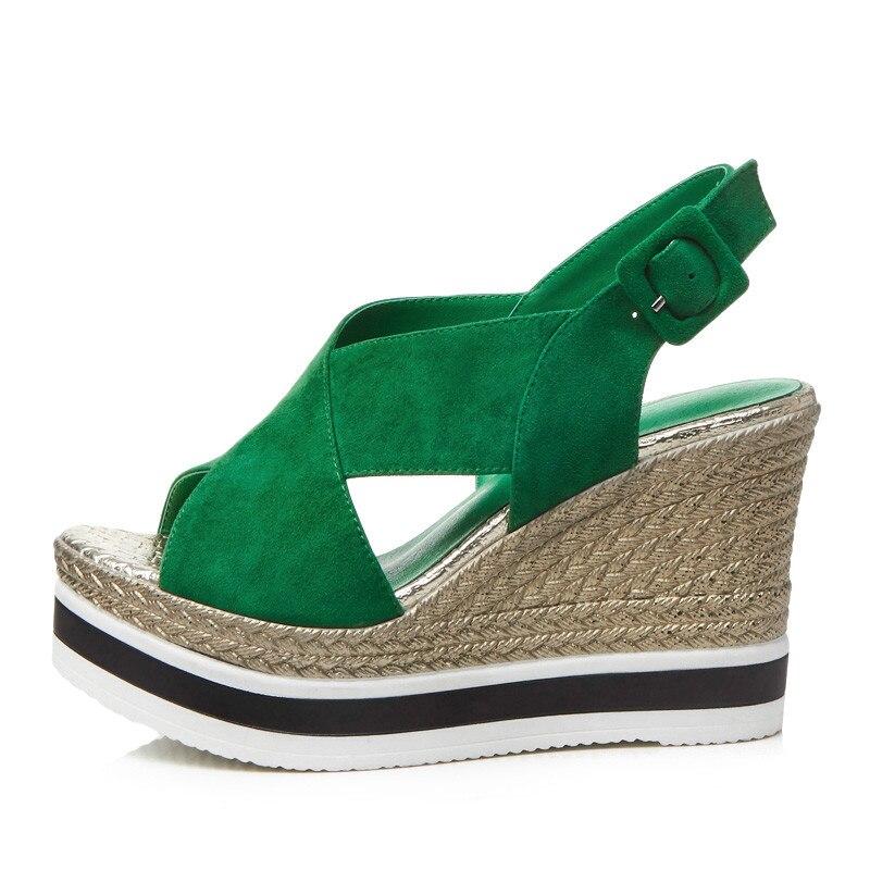 Gladiador Negro Verano Toe Sandalia Plataforma Ymechic Cuñas Cruzada verde Correa Zapatos Gamuza Sandalias Verde Peep Negro Damas Mujeres De qwTwXO