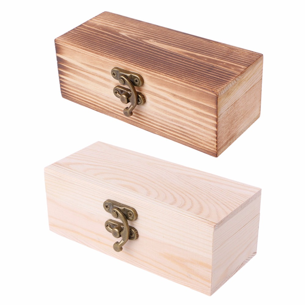 Rectangle Wooden Hinged Box Jewellery Storage Case Crfats Sundries Organizer Wedding Table Gift Box 2 Colors