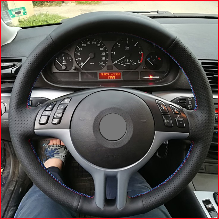 M stripe Black Suede Leather Car Steering Wheel Cover For BMW E90 320i 120d 325i
