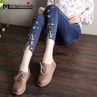 MEETMEFASHION Élégant Crayon Jeans Fleur Femelle Occasionnel Broderie Denim Pantalon Jeans droits Cru Femmes Plus Taille Pantalon