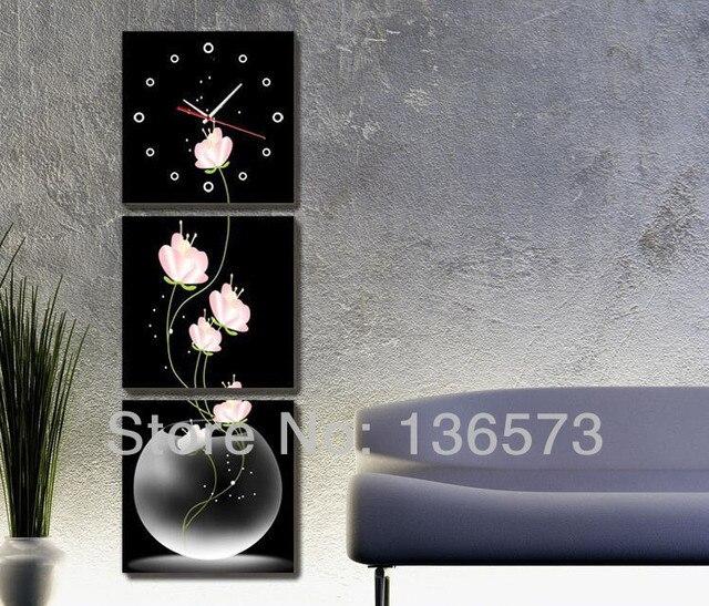 Handpainted black white pink 3 piece canvas wall art sets decorative ...