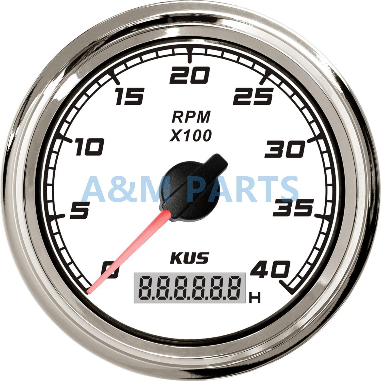 KUS Marine Car Truck Tachometer Boat Motor Digital Hourmeter 12/24V 0-4000 RPM kus boat rpm meter marine generator tachometer with lcd hourmeter 12 24v 0 6000 rpm 85mm