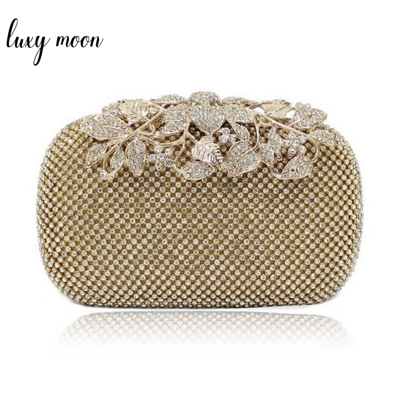 Luxy Moon Luxury Diamond Gold Evening Bags Peacock Silver Clutch Crystal beaded Evening Clutch rings wedding party purse w326 tentop a new style women s peacock evening clutch bags purse print dot clutch handbag black gold silver party dinner purse 1802k