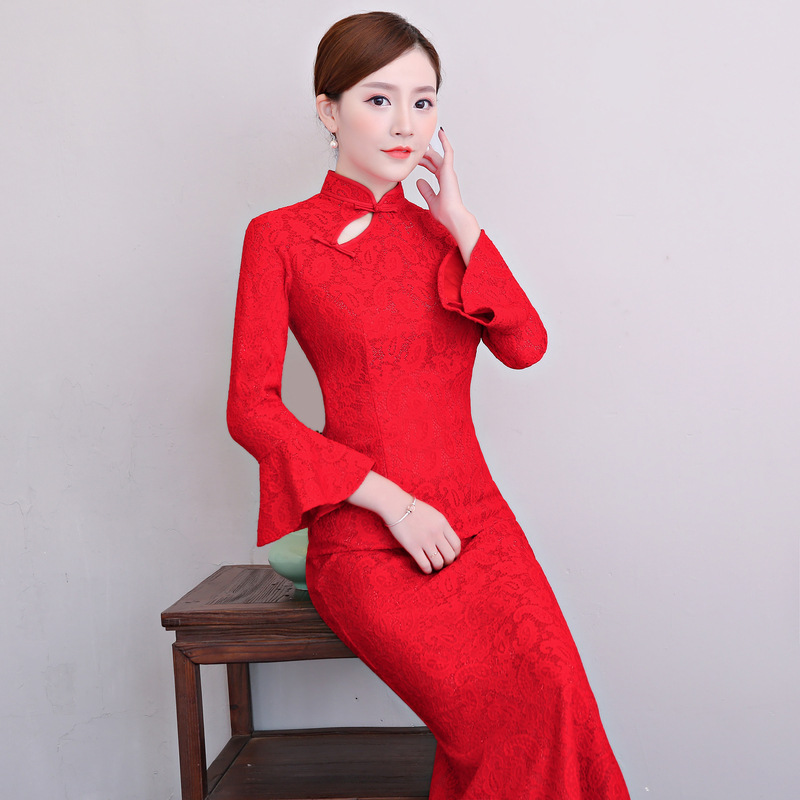 New Red Female Sexy Lace Flower Qipao Elegant Chinese Traditional Women Dress Handmade Button Plus Size S-3XL Cheongsam sexy women denim light blue skinny jeans crochet lace party female carve flower pants for women plus size s 3xl clothing k096