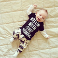 2016 Spring New Born Baby Set O-Neck Letter Long Sleeve Shirt + Pant Boys Clothes Set Bebek