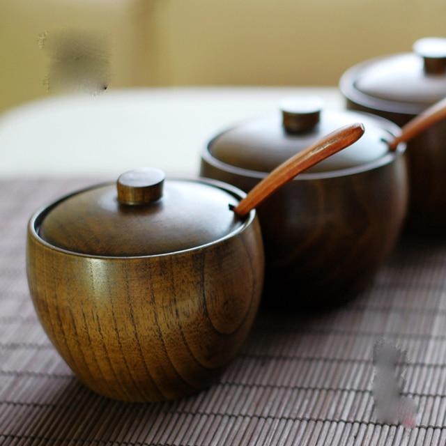 Retro Spice Jar Seasoning Can Sugar Bowl With Lid Wood Seasoning Box Kitchen Tool Salt Storage Box Kitchen Condiment Box JJ111