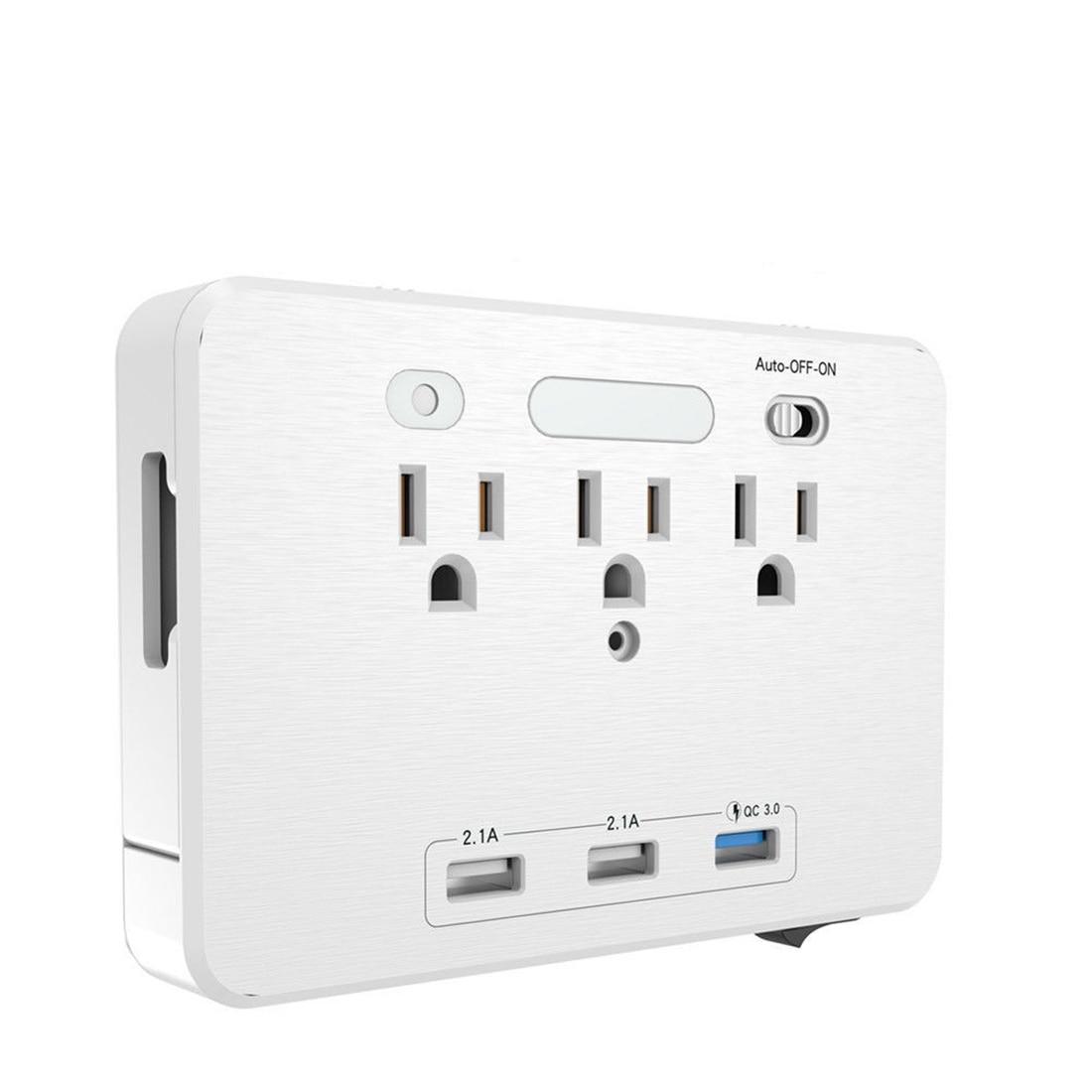 LED Night Light 3 <font><b>USB</b></font> <font><b>Charger</b></font> 3-port AC <font><b>outlet</b></font> <font><b>Wall</b></font> <font><b>outlet</b></font> and phone holder US Plug