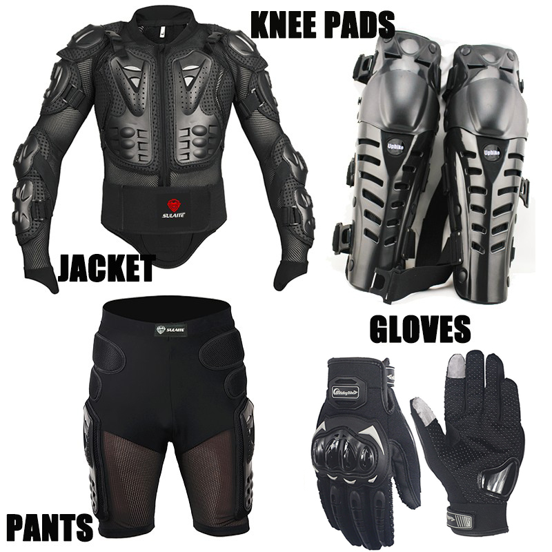 One Set 4IN1 Motorcycle Jacket Short Pants Kneepads Protection Gloves Motocross Armor Motocross Suits Clothing Moto
