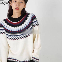 Ky Q Brand Designer Knitted Sweater 2017 New Women European Style Luxury Cotton Knitted Winter Sweaters