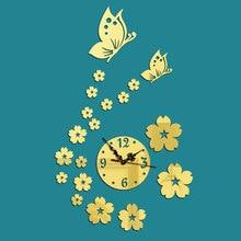 32X56CM Acrylic Wall Clock Butterfly Girl Sticker Watch Mural Modern Design Picture Fairy Mirror D