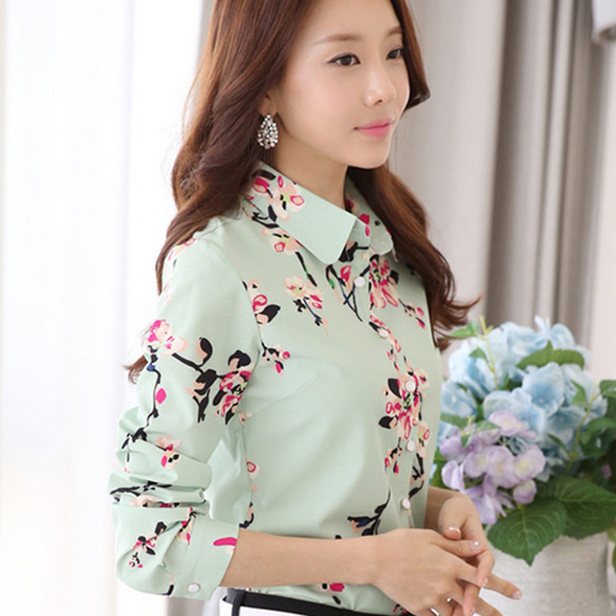 New Women Blouses Turn Down Collar Floral Blouse Long Sleeve Shirt Women Camisas Femininas Women Tops And Blouses Fashion