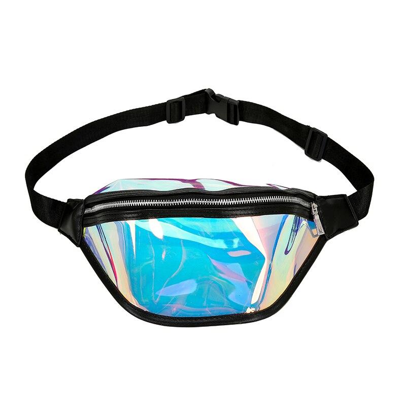 Fashion Women's Handbags Laser-Purse Translucent Reflective Chest Waist Bag Women Belt Bag Waist Bag Black