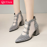 QUTAA 2019 Women Pumps Sheepskin Gauze Rhinestone Square Heel Cool Boots Pointed Toe Cut Outs Zipper Ladies Shoes Size 34 42