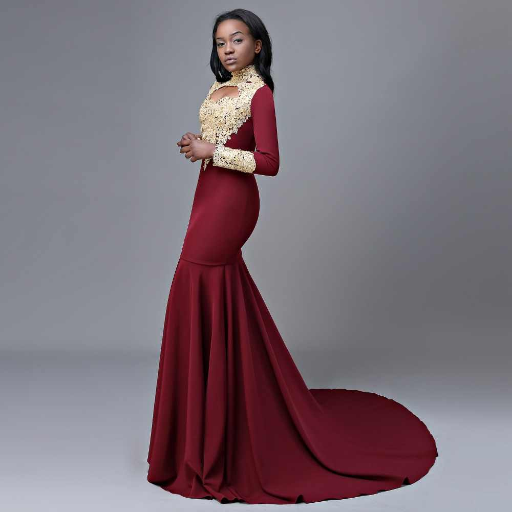 992dfedf738 ... Long Prom Dresses 2019 New Arrival Sexy High Neck Long Sleeve Gold Lace  African Mermaid Burgundy ...