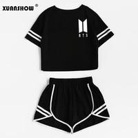XUANSHOW Fashion Tracksuit Women Cotton Shorts And Crop Top Set Round Neck Short Sleeve Stripe Black