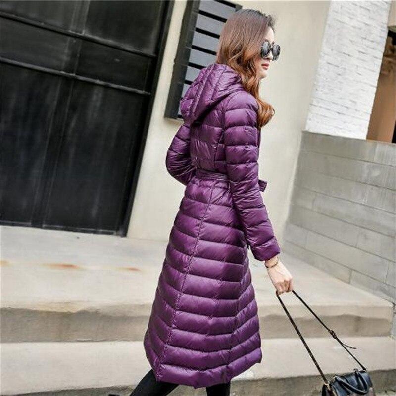 2018   Down   Jacket Female Vintage A line Overcoat Ultralight Winter   Down     Coat   Women Long Warm Parka With Belt