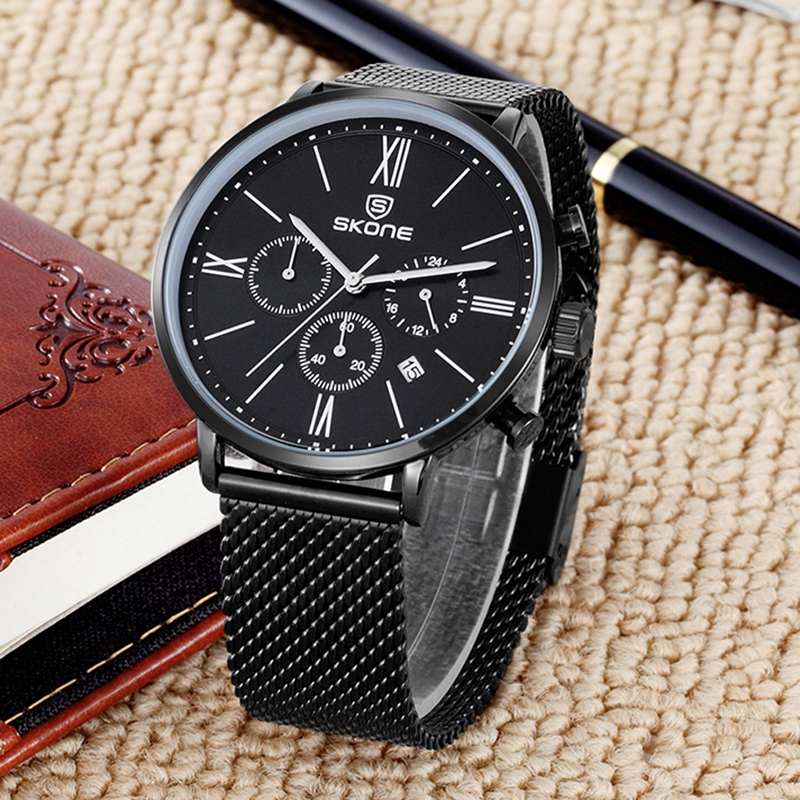 Skone Chronograph Watches Men Mesh Full Steel Watch Man Casual Sports Watches Business Quartz Clock Wristwatch Relogio Masculino skone relogio 9385