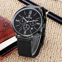 Skone Relógios Chronograph Men Malha Homem do Relógio de Aço Cheia Casual Relógios Desportivos Negócios Quartz Relógio de Pulso Relogio masculino