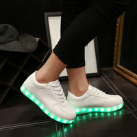 Hot sale woman led light outdoor sport shoes 2017 ladies pu sneakers running shoes for ladies